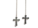 Pair of Sterling Silver 925 Cross Dangle Ear Thread Earring