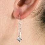 Sterling Silver Dove Of Peace Dangle Pairs Ear Threads