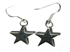 Sterling Silver Flat Polished Star Dangle Earring