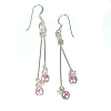 Sterling Silver Round CZ Cubic Zirconium Pin Dangles Earrings