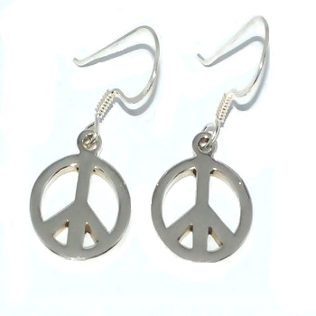 Sterling Silver PEACE Sign Dangle Earrings
