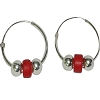 Sterling Silver Colored Tablet Bead 20mm Endless Hoop Earrings