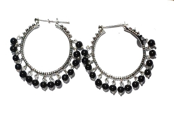 Sterling Silver HOOP EARRINGS adorded with color and silver beads