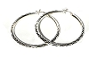 Sterling Silver Large Diamond Cut Hoop Earring