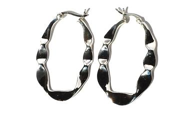 Sterling Silver Large Twisted Ribbon Long U HOOP EARRINGS