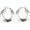 Sterling Silver Round Wide Puffed Hoop Earrings