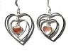 Sterling Silver Triple Heart Dangle with Genuine Stone Earrings
