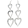 Sterling Silver Triple Heart Dangle Earrings