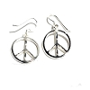 Sterling Silver Diamond Cut Peace Symbol Dangle Earrings