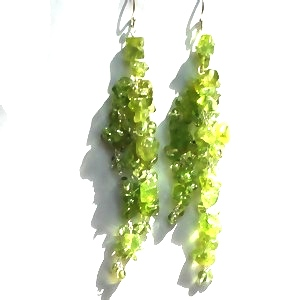 Sterling Silver PERIDOT Long Dangle Earrings