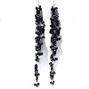 Sterling Silver Long Black Onyx Dangle Earrings