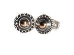 Sterling Silver 9 MM Stud Earring with 18k Gold Accent