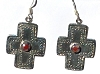 Sterling Silver SouthWest Cross with Stone in Center Earrings