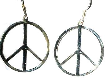 Sterling Silver PEACE Symbol Dangle Earrings