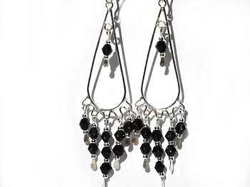 Sterling Silver Dangle with Colored Facet Glass Earrings