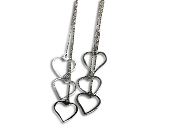 Sterling Silver 3 Linear DANGLES Earrings w/ Heart Charms