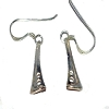 Sterling Silver Art Deco Trumpet Drop Dangle Earrings