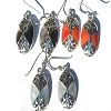 Sterling Silver Genuine Shell Inlay Filigree Oval Earring