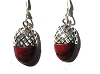 Sterling Silver Genuine Shell / Stone Inlay Filigree Acorn Earrings