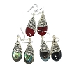 Sterling Silver Genuine Shell Ivy Filigree Teardrop Earrings