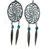 Sterling Silver Dreamcatcher Earrings w/ Feathers Simulated Stones