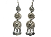 Sterling Silver Inlaid Onyx Mutli Ethnic Dangle Earrings