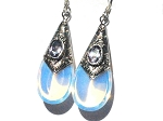 Sterling Silver Simulated MoonStone and Amethyst TearDrop Earrings