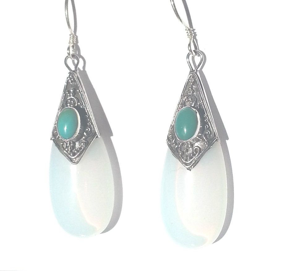 Sterling Silver Simulated MoonStone and TurquoiseTearDrop Earrings