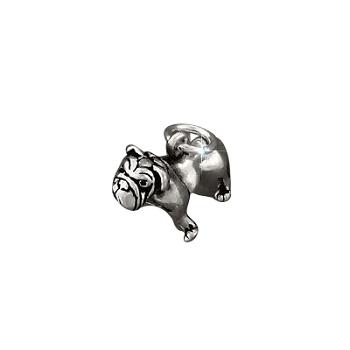 Sterling Silver BullDog FIGURINE Charm Pendant