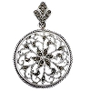 Sterling Silver Genuine 36 Marcasite Filigree Sun Disc Pendant