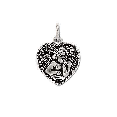 Sterling Silver 925 Thoughtful Angel on Heart CHARM Pendant