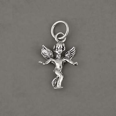 925 Sterling Silver Angel Cherub Wings Charm Pendant