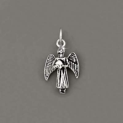 Sterling Silver Angel FIGURINE Holding Bible Charm
