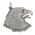 Sterling Silve Oxidized Bald Eagle Head Pendant