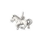 925 Sterling Silver Galloping Horse Pendant