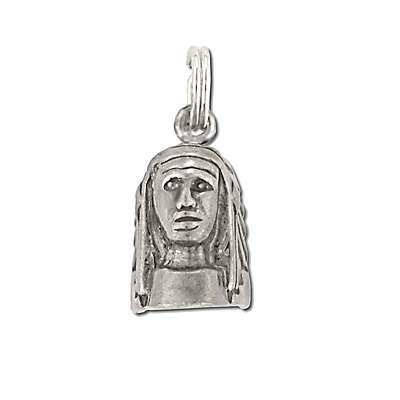New 925 Oxidized Indian Head Figurine  Pendant