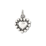 Sterling Silver Diamond Cut Puffed Heart  Charm Pendant