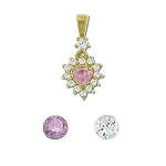 Sterling Silver Vermeil CZ Heart With Border Pendant
