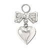 Sterling Silver 925 Puff Heart with Ribbon Charm Pendant