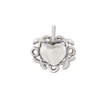 Sterling Silver Heart Hugs & Kisses Ornate Pendant