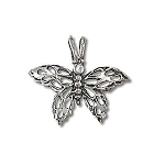 Sterling Silver Butterfly Diamond Cut Filigree Pendant