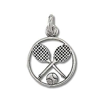 Sterling Silver TENNIS Racquet and BALL TENNIS Circle Pendant