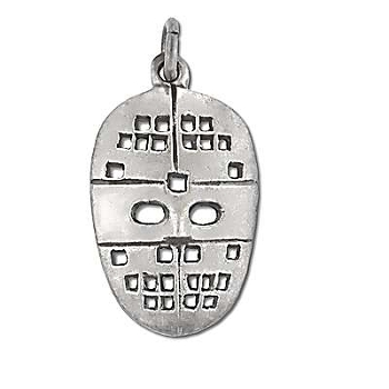 Sterling Silver Oxidized HOCKEY Mask Pendant