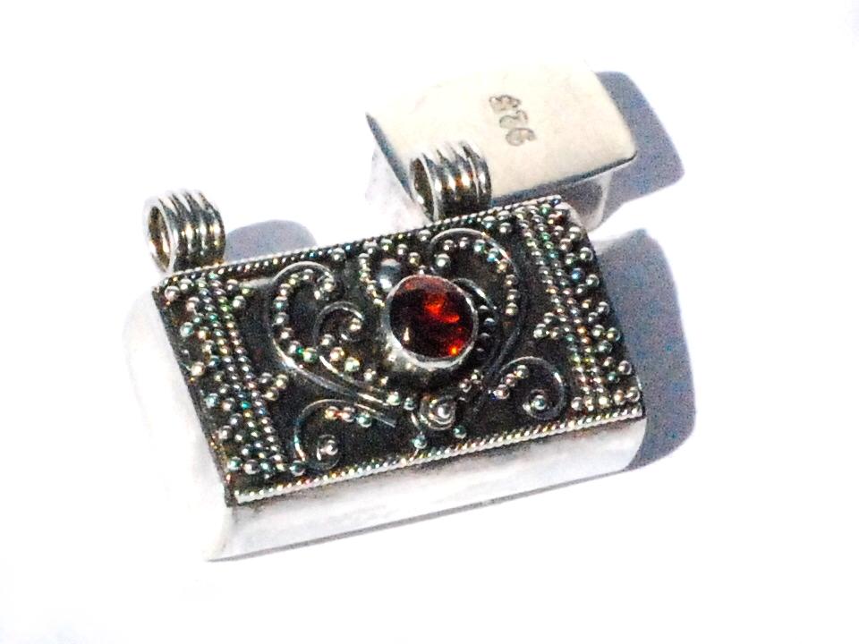Sterling Silver Bali hand-made facet GARNET prayer box pendant
