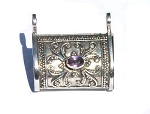 sterling Silver Hand Made Prayer Box with  Amethyst