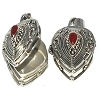 Sterling Silver Bali Heart Shape Prayer Box with Genuine Carnelian