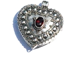 Sterling Silver Bali Heart Prayer Box Pendant with Garnet