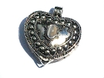 Sterling Silver Bali Heart Prayer Box Pendant with Simulated  Moonstone