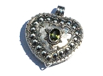 Sterling Silver Bali Heart Prayer Box Pendant with Peridot