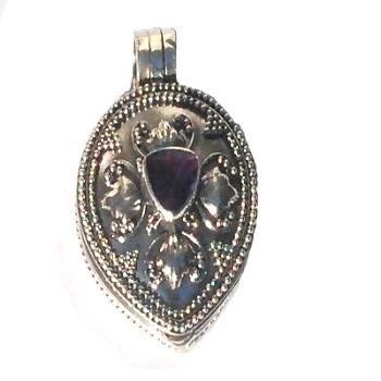 Sterling Silver Bali Teardrop Prayer Box Pendant with Amethyst